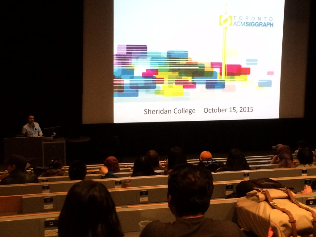 Presenting to the students at Sheridan College
